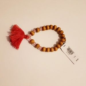 Wooden Bead  Tassel Stretch Bracelet - Express NWT